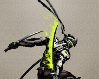Genji overwatch clipart banner royalty free download Overwatch art | Etsy banner royalty free download