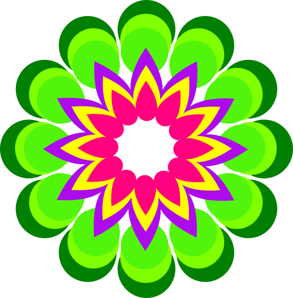 Large flower clipart picture black and white stock Geometric Flower Multicolor Clip Art at Clker.com - vector clip art ... picture black and white stock