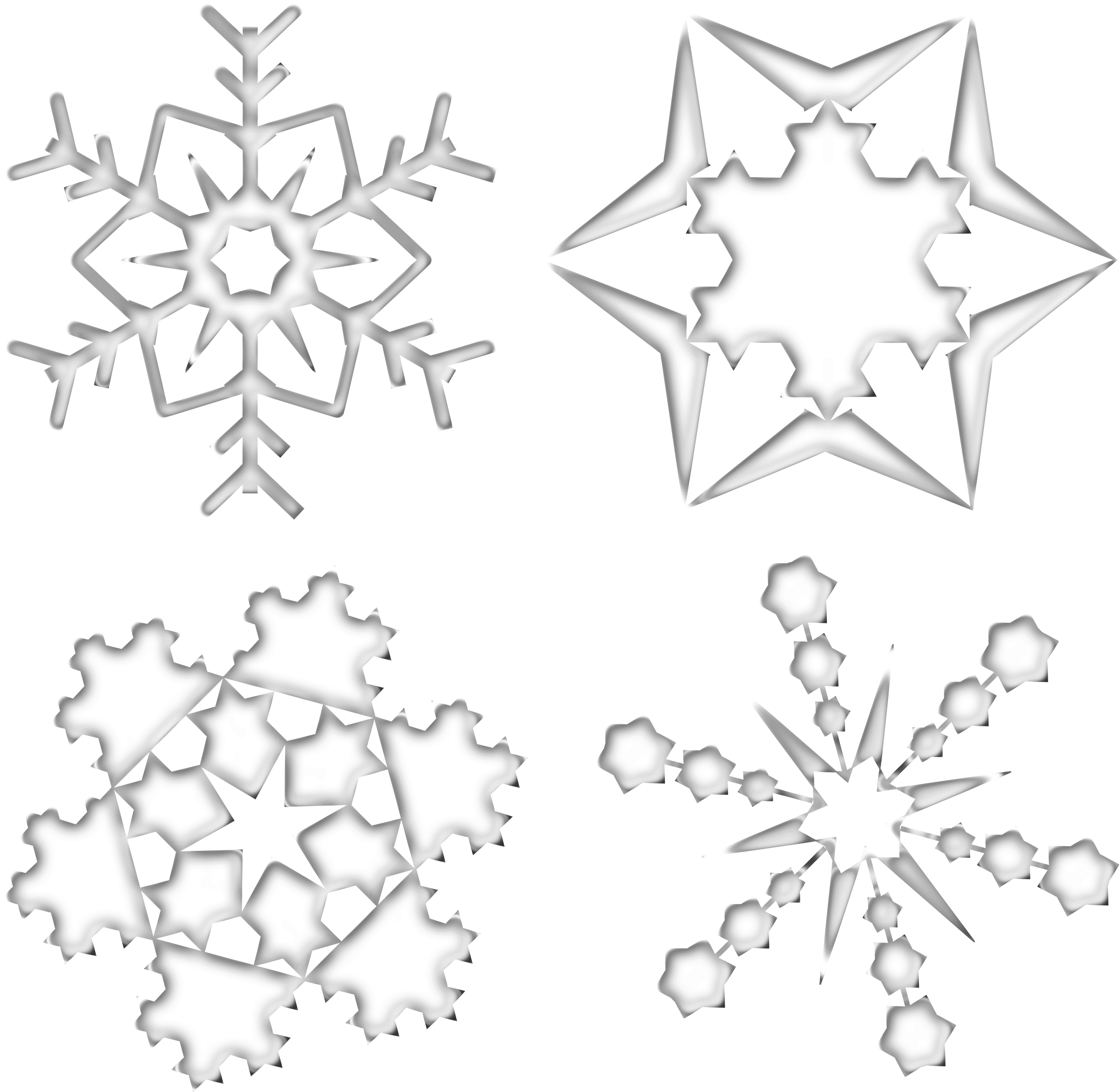 Microsoft office clipart snowflake black clip art transparent Clipart - Set Of Four Snowflakes clip art transparent