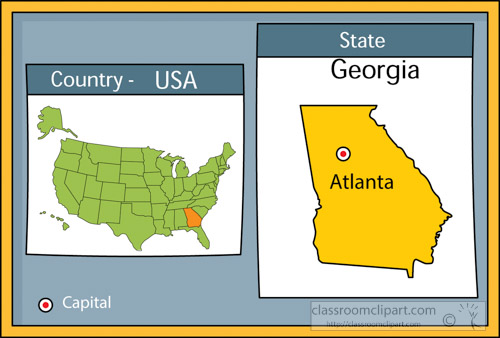 Georgia on us map clipart graphic freeuse US State Maps : atlanta-georgia-state-us-map-with-capital-clipart ... graphic freeuse