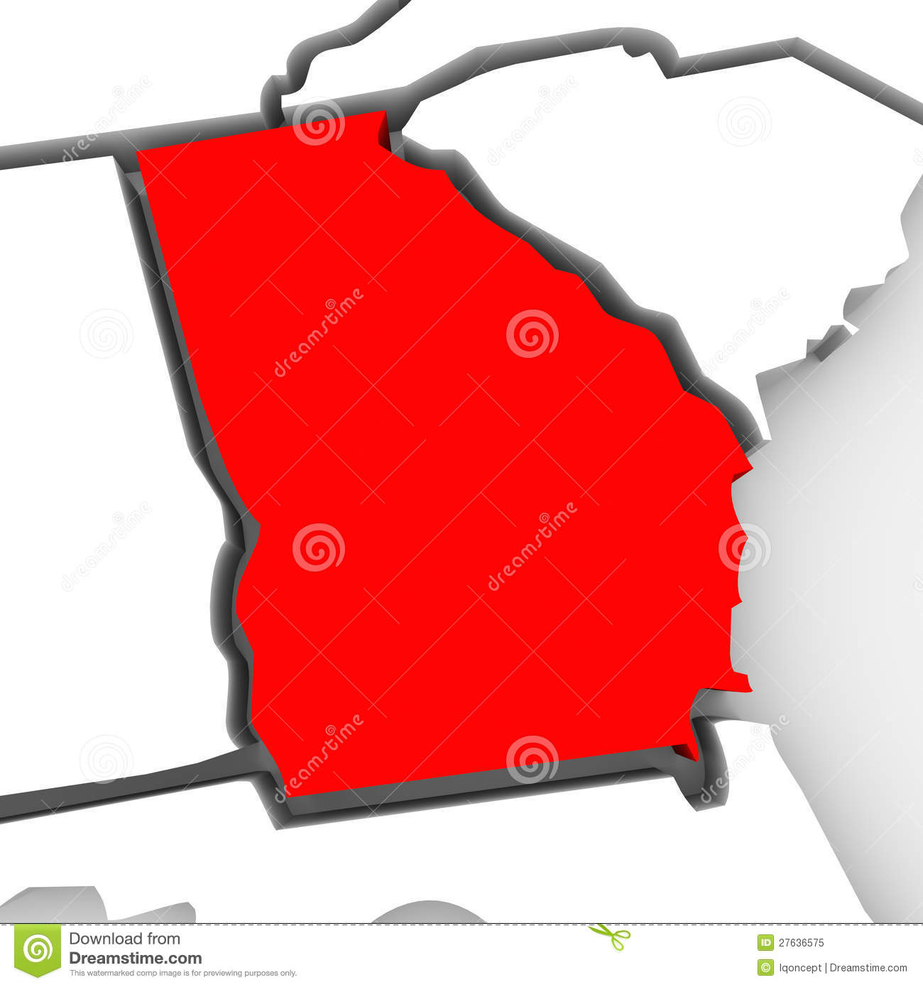 Georgia on us map clipart picture freeuse stock Georgia Red Abstract 3D State Map United States America Royalty ... picture freeuse stock