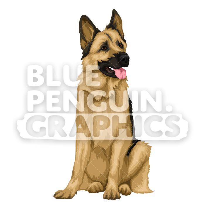 German shepherd clipart graphics jpg German Shepherd version 6 Vector Cartoon Clipart Illustration jpg