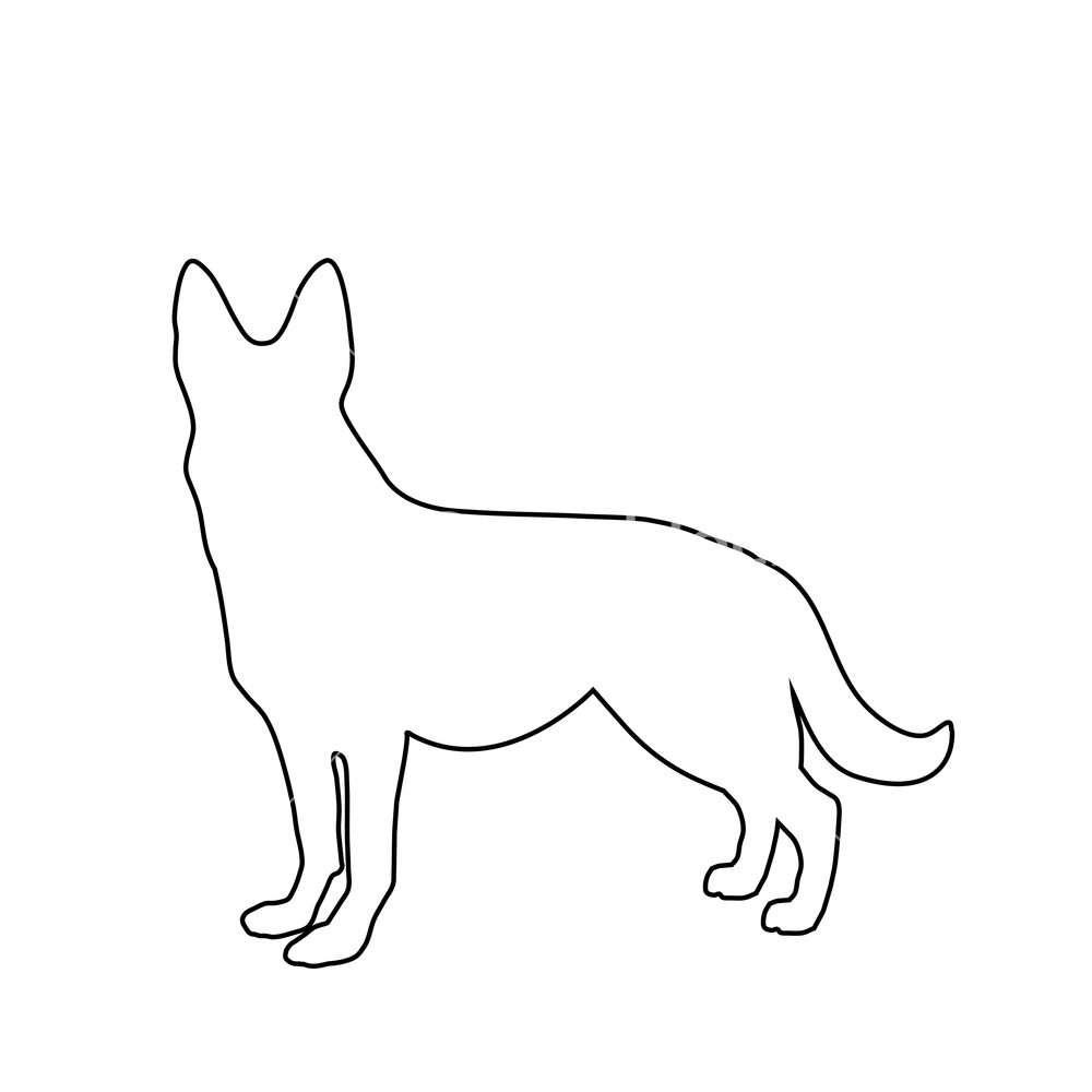 German shepherd silhouette black and white clipart jpg freeuse download Black outline silhouette of german shepherd dog standig sideway ... jpg freeuse download