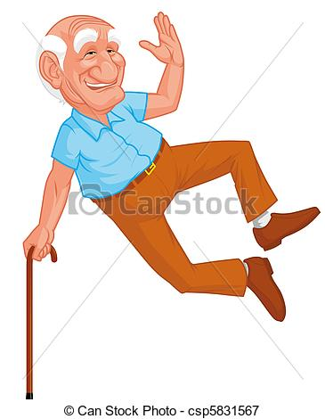 Gesund clipart clipart black and white Stock Illustrations of Healthy grandfather jumping csp5831567 ... clipart black and white