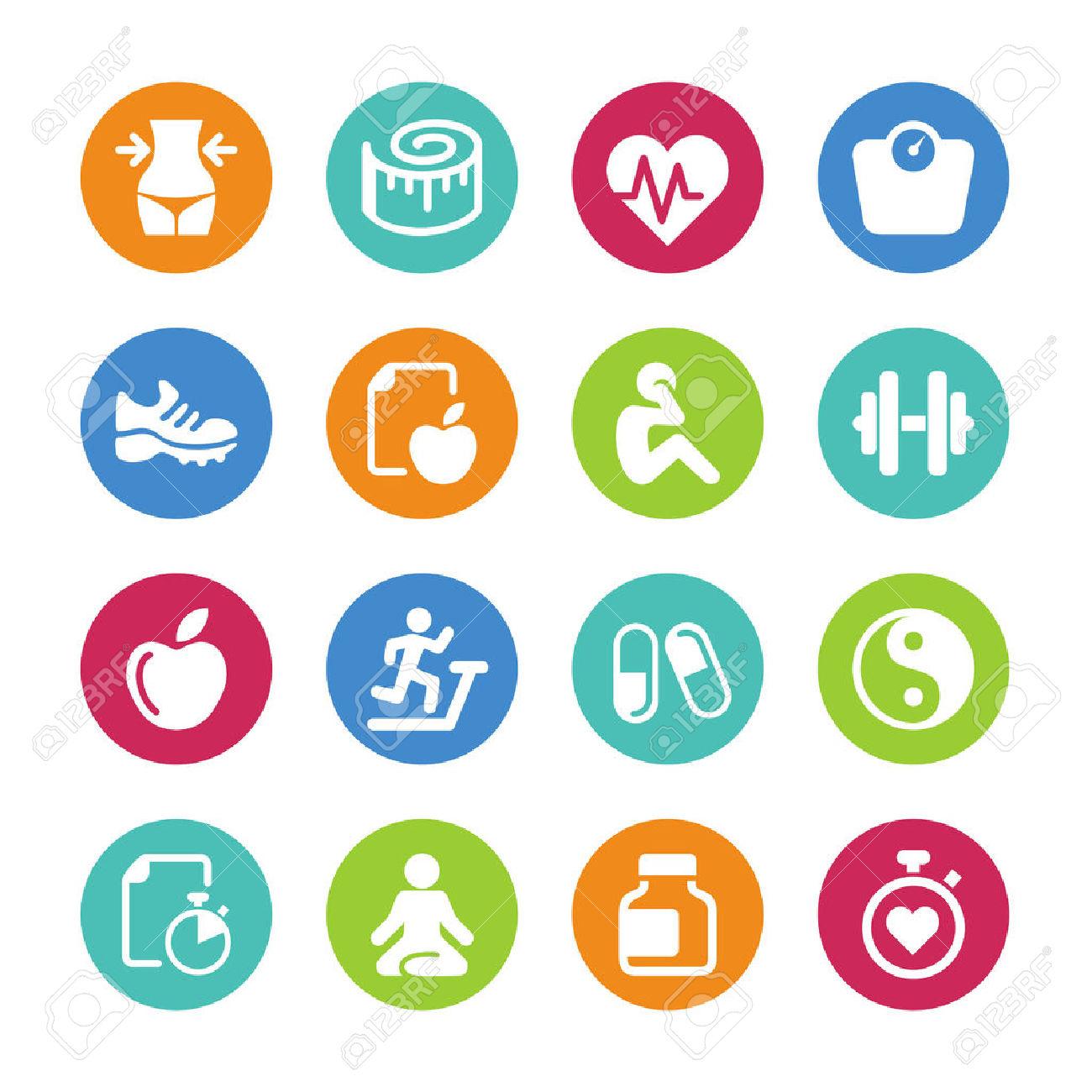 Gesund und fit clipart banner library Set - 16 Gesundheit Und Fitness Icons Lizenzfrei Nutzbare ... banner library