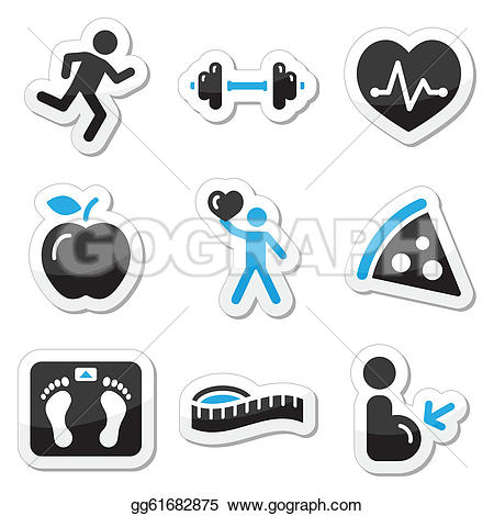 Gesund und fit clipart graphic black and white stock Fitness Clip Art - Royalty Free - GoGraph graphic black and white stock