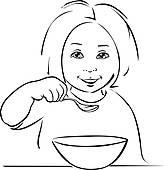 Gesundes essen clipart schwarz wei image freeuse download Clip Art - kind essen, -, schwarz, aufreißen k19174716 - Suche ... image freeuse download