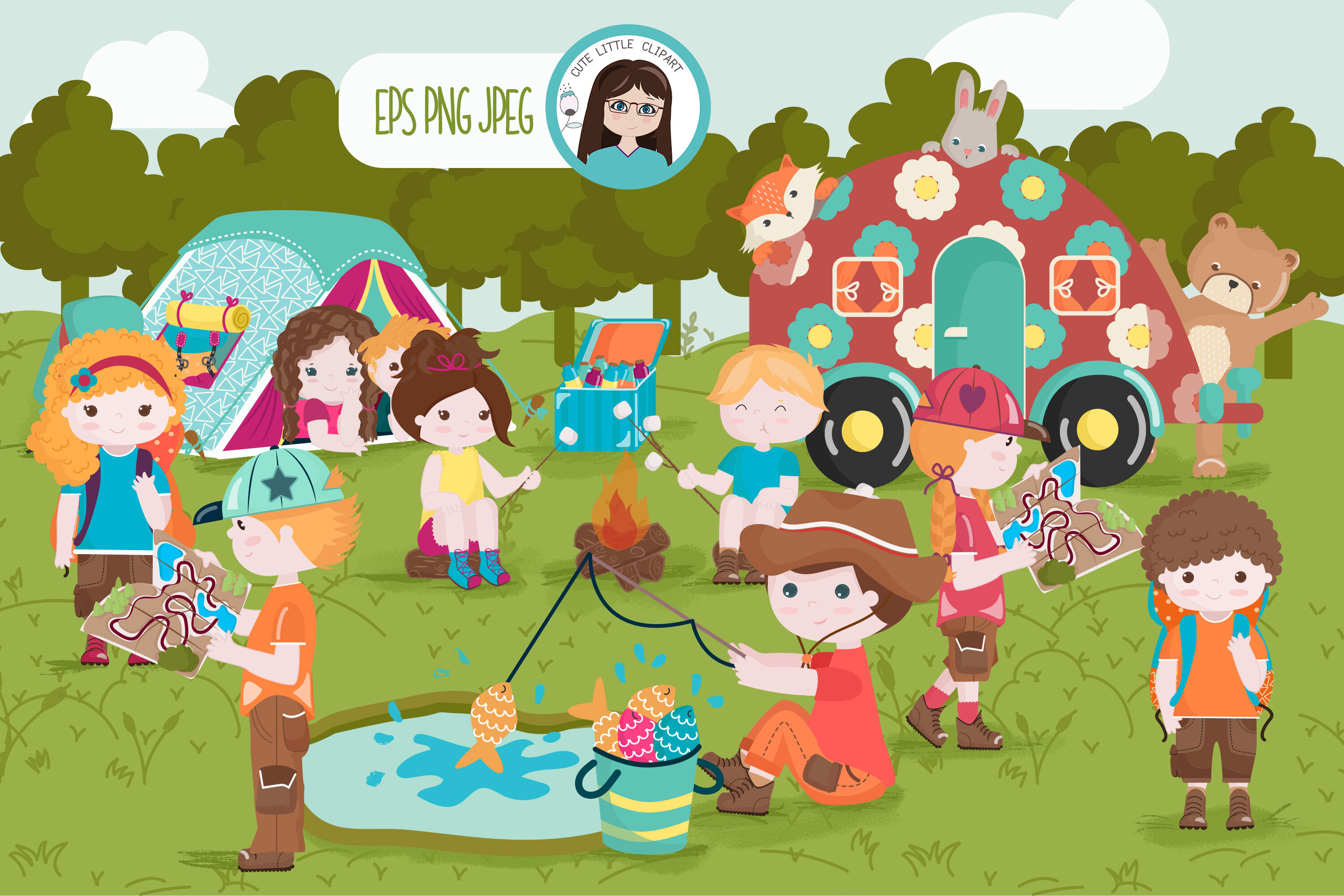 Get rid of hunger on can at a time clipart clipart freeuse library Camping fun time cliparts By Cute Little Workshop | TheHungryJPEG.com clipart freeuse library