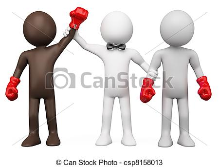 Gewinner und verlierer clipart image black and white library Drawings of Boxing match - Boxing Referee choosing the winner ... image black and white library