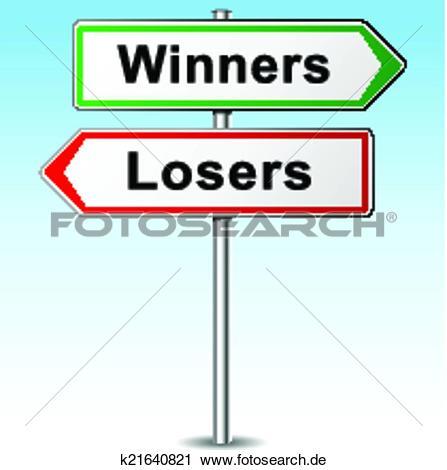 Gewinner und verlierer clipart png royalty free library Clipart - vektor, gewinner, und, verlierer, wegweiser k21640821 ... png royalty free library