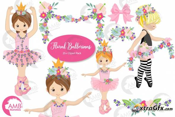 Gfx clipart banner black and white library Floral Ballerina Clipart AMB-2606 - 3943627 » xtraGFX Creating the ... banner black and white library