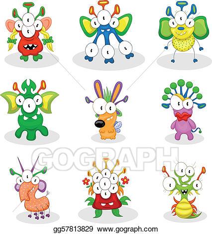Ghosts and goblins clipart svg transparent EPS Illustration - Cartoon monsters, goblins, ghosts. Vector Clipart ... svg transparent