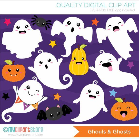 Ghouls clipart royalty free Ghouls and Ghosts Clipart, Halloween, Kawaii, pumpkins, ghosts, cute ... royalty free