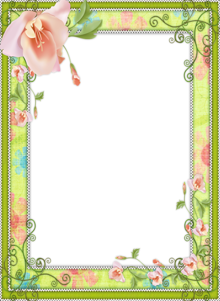 Light Green Transparent Flower Frame … | CARATULAS PARA TRABAJOS ... svg download
