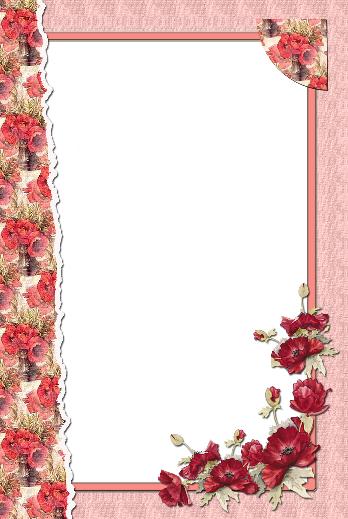 Gif clipart images of pink delicate flower borders svg library download Transparent Flower Red Frame | Frames and Borders | Transparent ... svg library download