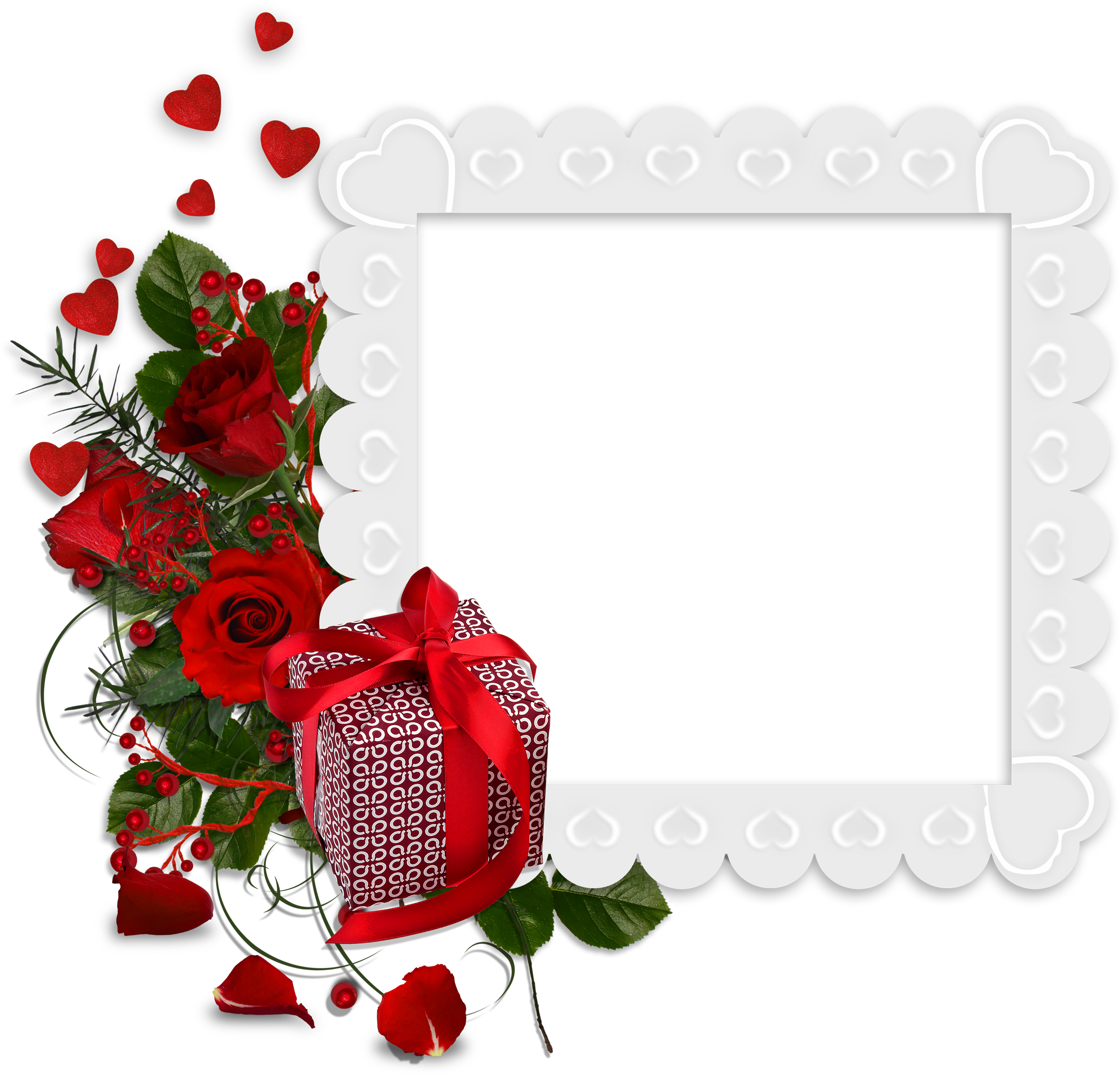 Gift heart clipart clipart free Beautiful White Transparent Frame with Hearts and Red Roses and Gift ... clipart free