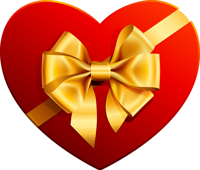 Gift heart clipart picture freeuse download Transparent Heart with Gold Ribbon Clipart | Gallery Yopriceville ... picture freeuse download