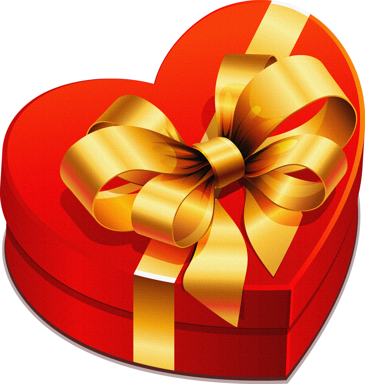 Gift heart clipart vector download Large Heart Gift Box with Gold Bow Clipart | Gallery Yopriceville ... vector download