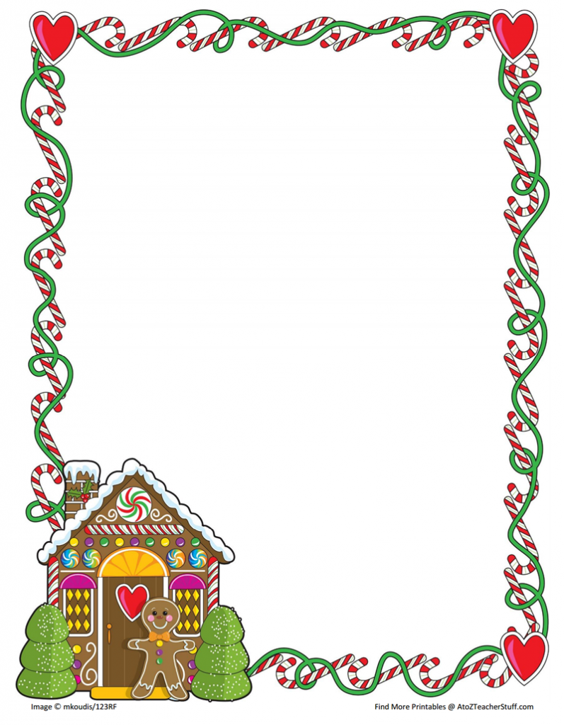 Gingerbread border clipart banner library library Gingerbread Printable Border Paper With and Without Lines | A to Z ... banner library library