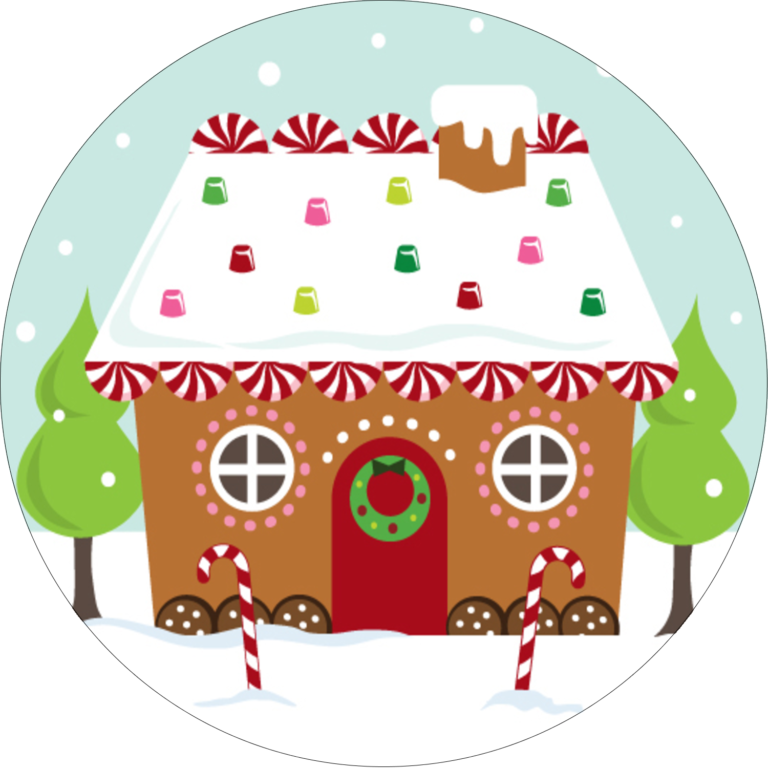 Gingerbread house icing template clipart vector free stock Christmas Round Labels - Pre Designed Templates vector free stock
