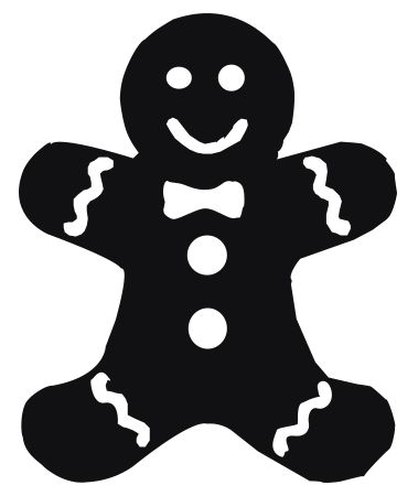 Gingerbread man silhouette clipart image black and white stock Ginger Bread Man Shape | shapes | Christmas gingerbread men ... image black and white stock