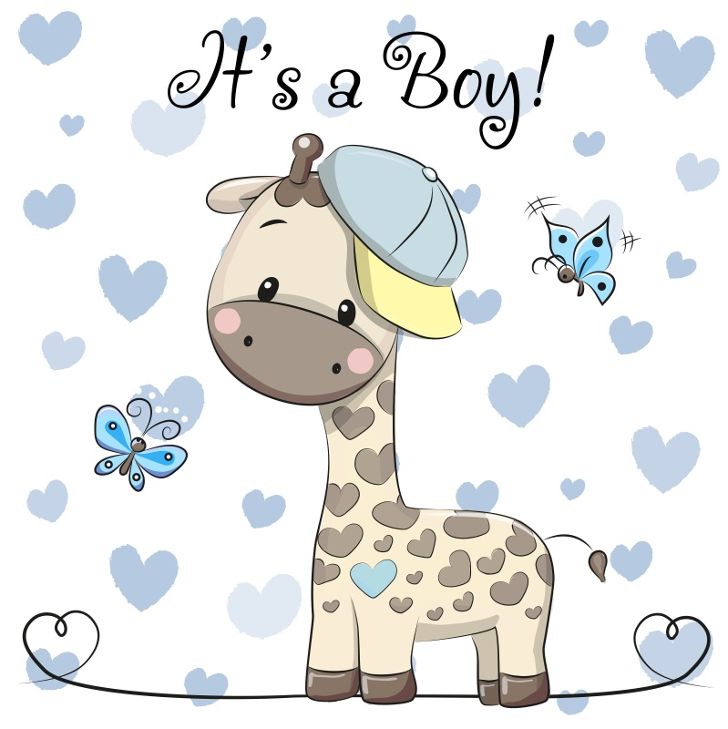 Giraffe boy clipart desktop baby gift card graphic black and white stock Baby Shower Cute Giraffe Boy Backdrop 8x8ft Background Props Show ... graphic black and white stock