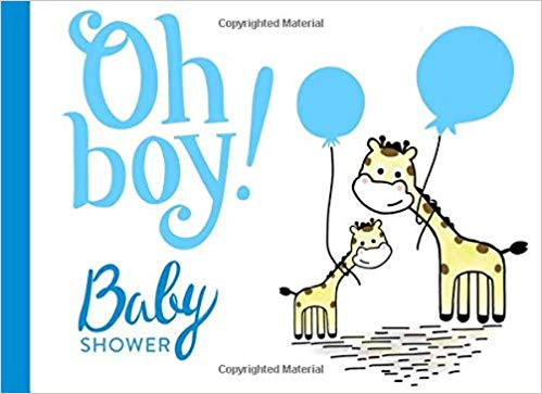 Giraffe boy clipart desktop baby gift card vector library download Oh Boy! Baby Shower Guest Book: Giraffe, Blue, With gift log ... vector library download
