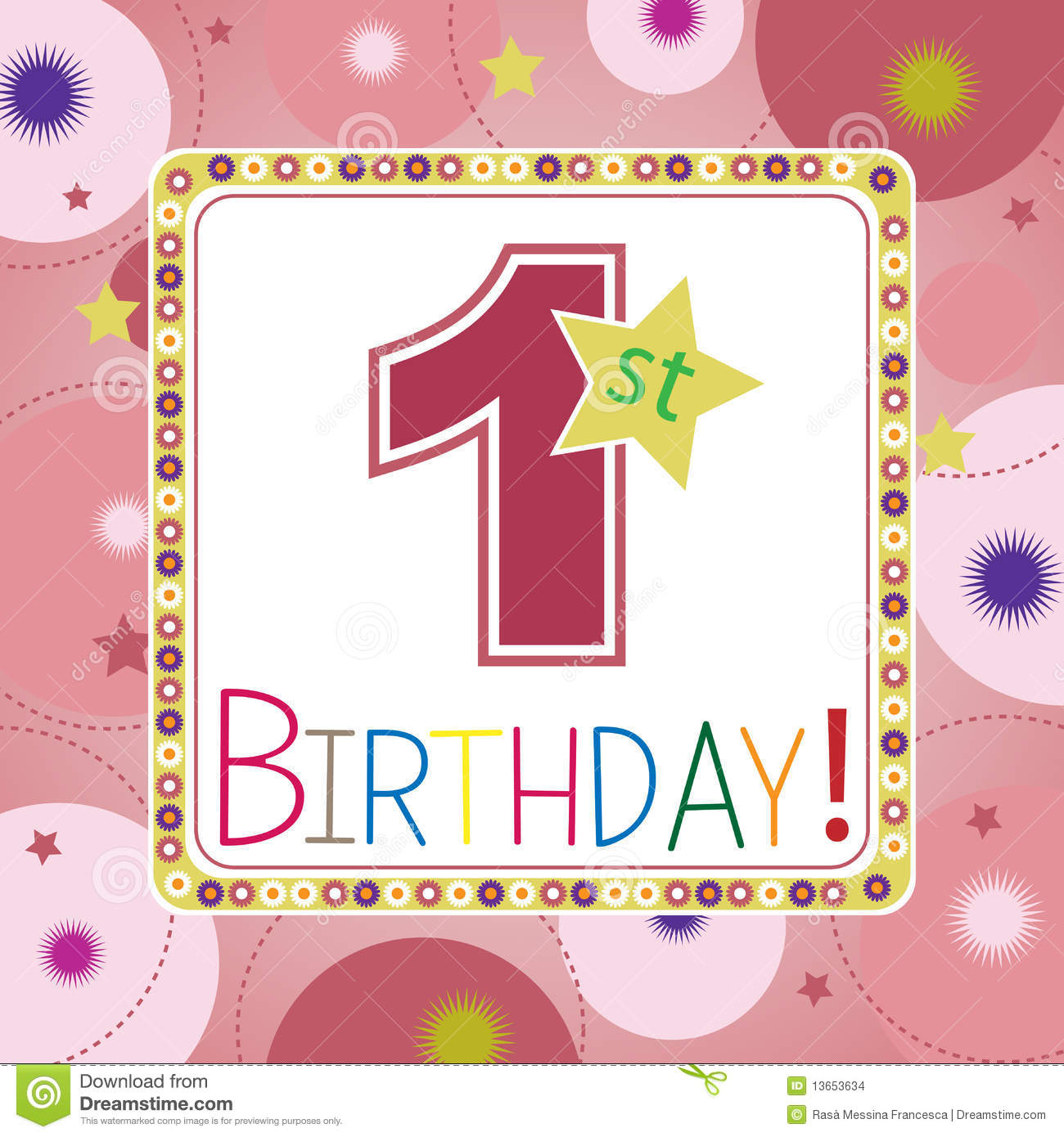 Girl 1st birthday clipart png download First Birthday Card Stock Images - Image: 13653634 png download