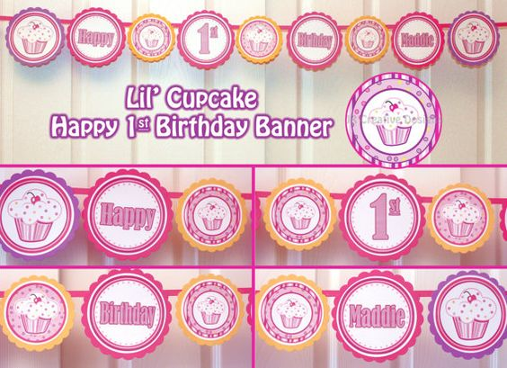 Girl 1st birthday clipart banner image library download Lil Cupcake Banner 1st Birthday Party Package 1 year Birthday ... image library download