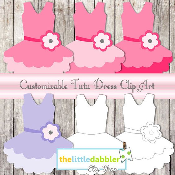 Girl 1st birthday clipart banner picture black and white stock Hot Pink Tutu Baby Dress Banner and Favor Gift Tags -- Ballerina ... picture black and white stock