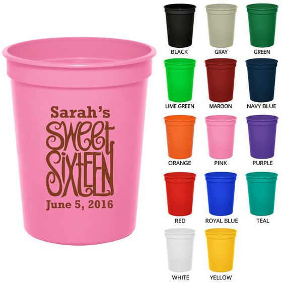 Girl 21st birthday hangover clipart jpg freeuse Birthday Stadium Cups (Clipart 19063) Sweet 16 - Party Favor Cups ... jpg freeuse
