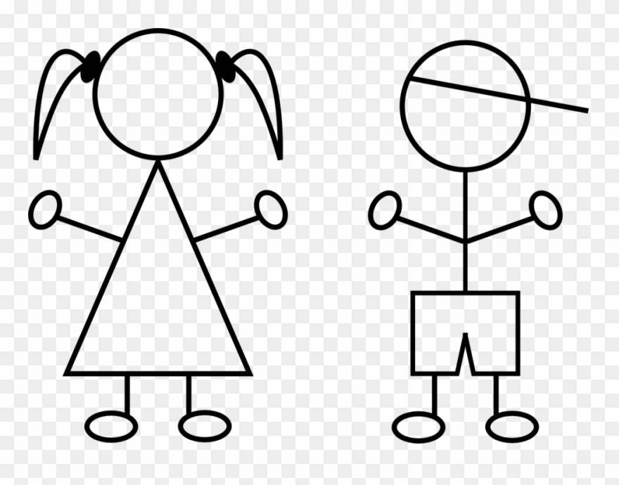 Girl and boy clipart black and white free clip freeuse stock Free Vector Graphic Children Boy Girl Line Drawings Clipart (#715527 ... clip freeuse stock