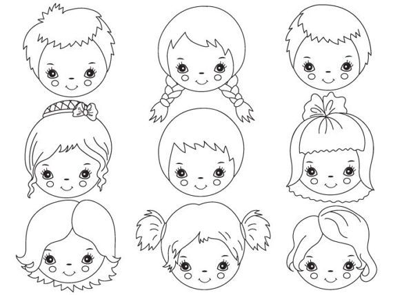 Little individual kids clipart black and white clip transparent download Png Boy And Girl Face Black And White & Free Boy And Girl Face Black ... clip transparent download