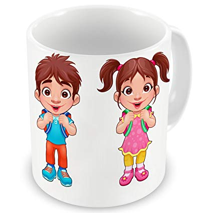 Girl and boy looking at mug clipart picture royalty free download Amazon.com: D&D Cute Cartoon Boy & Girl Printed Ceramic Coffee Mug ... picture royalty free download