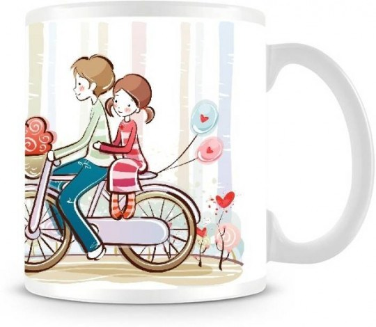 Girl and boy looking at mug clipart jpg free library Shoprock boy with girl on the bycycle coffee ceramic mug (300 ml) jpg free library