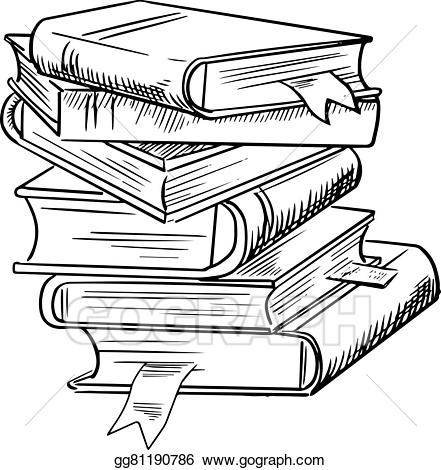 Stack of books spine clipart black and white graphic transparent download EPS Vector - Stack of books with bookmarks. Stock Clipart ... graphic transparent download