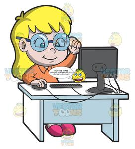Girl at computer clipart picture library A Young Smart Girl Using The Desktop Computer For Research picture library