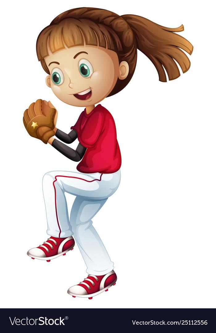 Girl baseball player clipart freeuse stock Girl playing baseball about to pitch freeuse stock