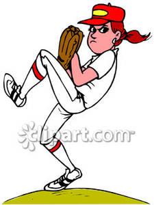 Girl baseball player clipart vector free library A Woman Pitching a Baseball - Royalty Free Clipart Picture vector free library