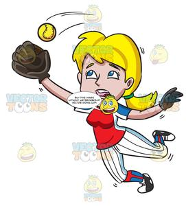 Girl baseball player clipart banner black and white library A Female Baseball Player Catching The Ball In The Air banner black and white library