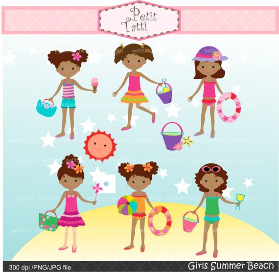 Girl beach clipart banner library ON SALE Girl Beach Clipart _ Beach Clip Art. Summer Clip Art,African ... banner library