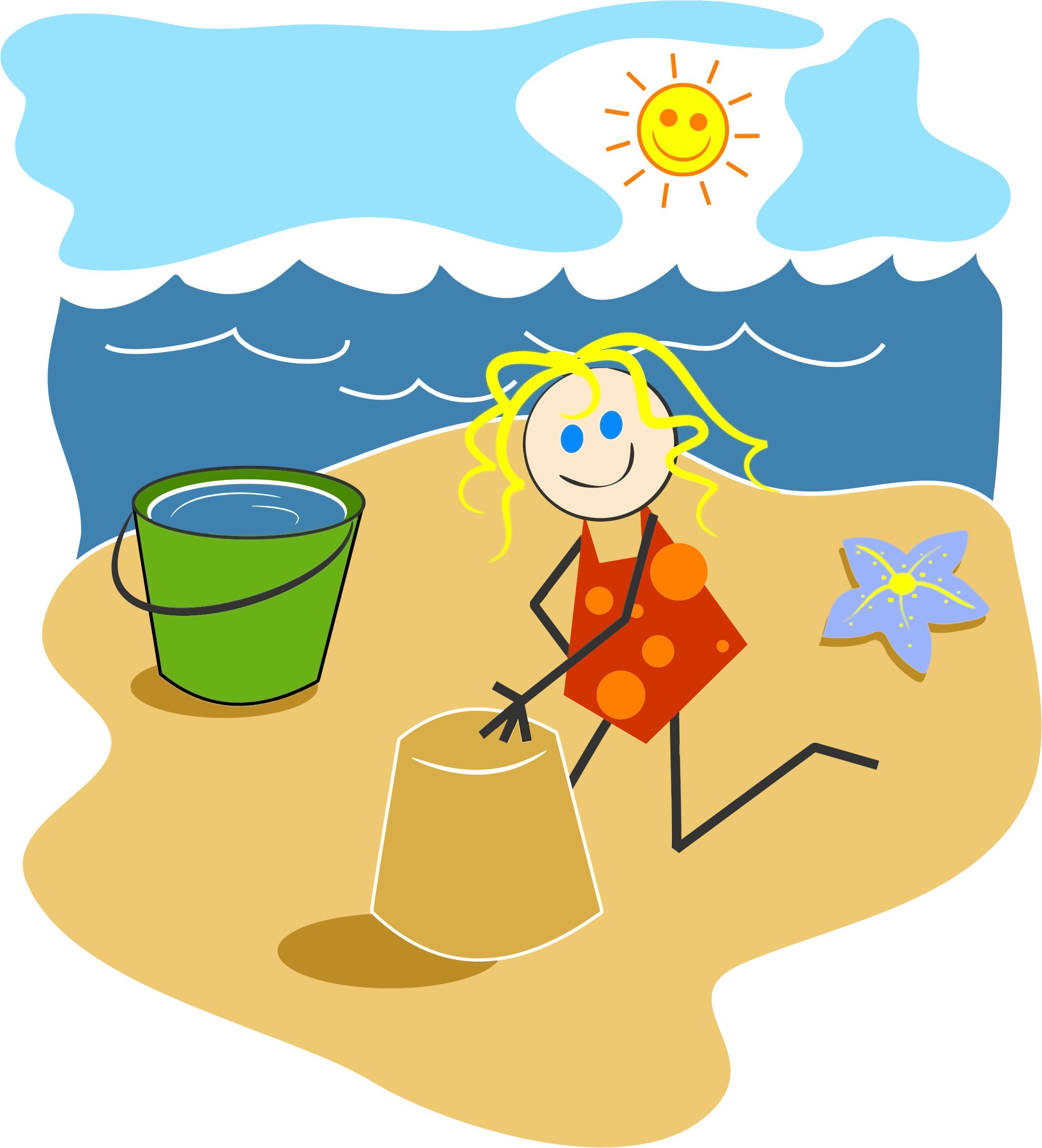Girl beach clipart jpg black and white stock Clipart Girl At The Beach - Clip Art Library jpg black and white stock