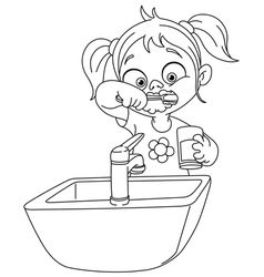 Girl brushing teeth black and white clipart jpg freeuse download Brushing Teeth Drawing at PaintingValley.com   Explore collection of ... jpg freeuse download