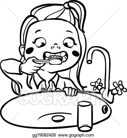 Girl brushing teeth black and white clipart clip free library Drawing Of A Girl Brushing Her Teeth clip free library