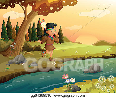 Girl by the river clipart jpg royalty free EPS Illustration - An indian girl along the river . Vector Clipart ... jpg royalty free