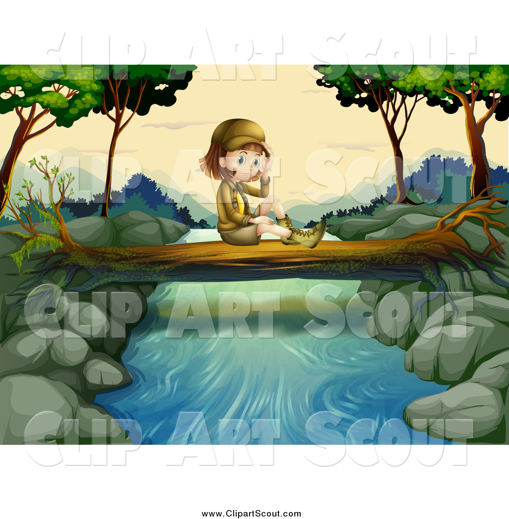 Girl by the river clipart black and white stock Clipart of a Lone Explorer Girl Sitting on a Log over a River by ... black and white stock