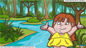 Girl by the river clipart banner stock A Friendly Fat Girl and A River In A Jungle Background banner stock
