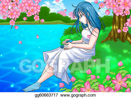 Girl by the river clipart picture transparent download Stock Illustration - Girl at pond side. Clipart gg60663717 - GoGraph picture transparent download