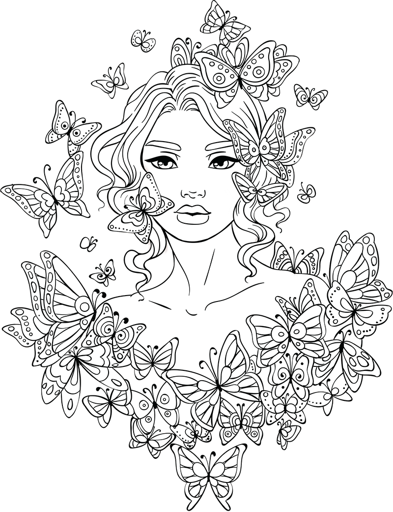 Girl clipart black and white adult coloring book freeuse library Amazoncom adult coloring books clipart images gallery for free ... freeuse library