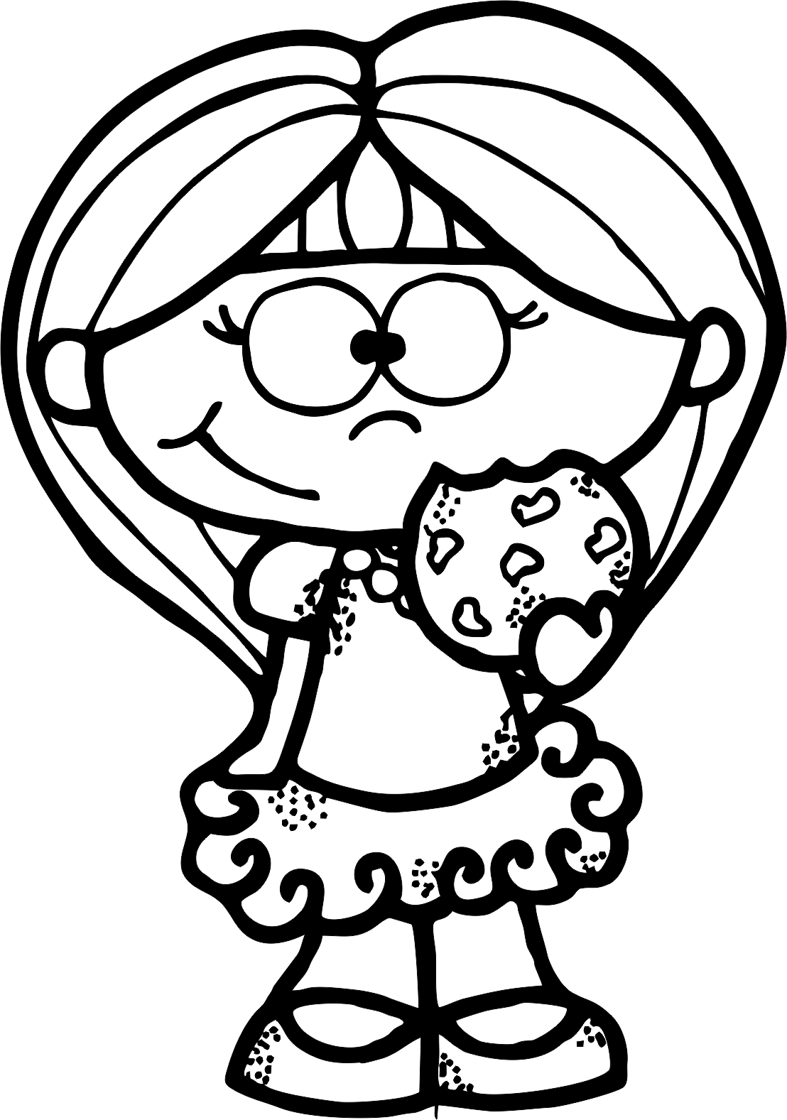 Girl clipart black and white adult coloring book banner black and white library Pin by Amanda Green on Clip art | People coloring pages, Cartoon ... banner black and white library